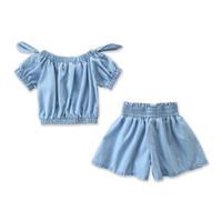 kot pantolon kız pantolon toptan satış-Kızlar Denim Setleri Bebek Yumuşak Denim Kapalı Omuz Yay Tops + Geniş Bacak Şort Pantolon Set 2019 Çocuklar Yaz Giysi Tasarımcısı kıyafet