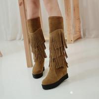 gizli yüksek topuklu ayakkabılar toptan satış-PXELENA Diz Yüksek Püskül Boots Kadınlar İlkbahar Sonbahar Gizli Yüksek Topuk Fringe Uzun Çizme Süet Flock Moda Ayakkabı Artı boyutu 34-43