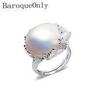 barocke ringe großhandel-Baroqueonly 925 silberner Ring 15-22mm großer Größen-barocker unregelmäßiger Perlen-Ring, Frauen-Geschenke J190706
