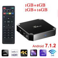 lecteur multimédia android achat en gros de-Hot Box Android X96 Mini S905w 2 Go 16 Go WiFi Lan 4K ultra smart tv Cutsom Logo télévision 4K 2.4G wifi lecteur multimédia