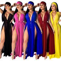 mavi dantel hırka toptan satış-Şifon Bikini Cover Up Kadınlar Seksi Bölünmüş Plaj Maxi Swim Elbise Dantel Up Uzun Hırka Mayo Gül Kırmızı Bordo Mavi Sarı Siyah