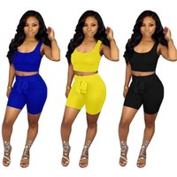 Wholesale motorcycle tank yellow for sale - Group buy Womens summer outfits tank top shorts tracksuits casual sport suit jogging sport suit summer womens clothing klw1197