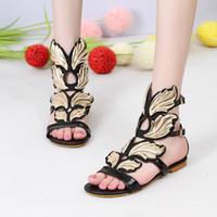 sandales d'été de filles sexy achat en gros de-Xingdeng filles Design or feuille aile été plat cheville sangle sandales chaussures femmes cadre partie robe sexy chaussures en cuir pu