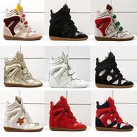 sneakers keil fersen großhandel-Hot Sale-Women Schuhe atmungsaktiv Haken Stiefeletten aus echtem Leder Keilabsatz Sneaker Frau Mischfarbe lässig Plattform Schuhe Damen