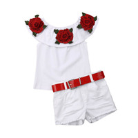 kazık atmak toptan satış-Yaz Toddler Kız Çiçek Off-Omuz Ruffled Üst + Denim Şort Kıyafetler Yırtık
