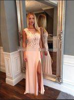 Wholesale blue jewel dress slit side resale online - 2019 On Sale Blush Evening Dresses Long Sexy High Thigh Slit Illusion Boat Neck Lace Applique Bodice Prom Party Gowns