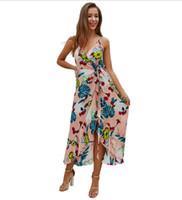 ingrosso v vestiti estivi della metà di lunghezza del collo-Due modelli di esplosione di colore a colori delle donne di disegno originale transfrontaliero 2019 estate Boemia scollo a V stampa sexy vestito a metà lunghezza