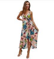 bohemia sling kleid groihandel-Original Design Cross-Border Frauen 2 Farbe Explosion Modelle 2019 Sommer Bohemia V-Ausschnitt Sling Print sexy Mitte Länge Kleid