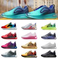 zapatillas de mujer negras al por mayor-Nike 720 air max 720 airmax Nueva llegada zapatillas de running para hombre mujer Plata Metálica triple negro CARBON GRIS PUESTA DEL SOL Zapatillas deportivas transpirables talla