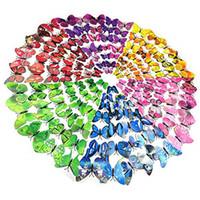 aufkleber für das handwerk großhandel-12 Stücke 3D Schmetterling Wandaufkleber Abnehmbare DIY Kunst Dekor Handwerk Magneten und Kleber Aufkleber Für Kindergarten Klassenzimmer Büros Kinder Schlafzimmer