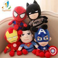 детские игрушки оптовых-Hot Cute 28 см Q стиль Человек-Паук Капитан Америка Мягкие игрушки Супер герой плюшевые мягкие Мстители плюшевые подарки детские игрушки Аниме kaws игрушки