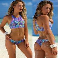 bisiklet çorabı takımları toptan satış-Baskı Mandala Bikini Set Kadınlar Yaz Bölünmüş Yüzme Suit Sıkı Üçgen Plaj Mayo Moda Sahil Aşınma 2 adet / takım
