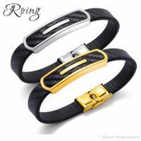 fivela de aço inoxidável artesanal venda por atacado-Roing moda handmade charme pulseira de couro de ouro / preto fivela pulseiras de aço inoxidável do punk jóias para homens jóias ro1295