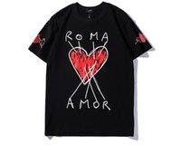 şık erkekler s t shirt toptan satış-New19ss sıcak satış Yaz Eti Baskılı Gösterilen Moda Şık erkek Lüks İtalyan Marka erkek Kısa Kollu Baskılı T-Shirt