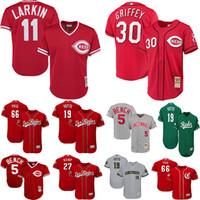 camisetas de práctica de béisbol al por mayor-Jerseys Rojos de los hombres de Cincinnati Barry Larkin Banco Johnny Ken Griffey Jr. Yasiel Puig Cooperstown Malla de béisbol Práctica de béisbol Jersey