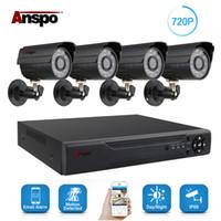 güvenlik kamerası dvr kitleri toptan satış-Anspo 4CH AHD Ev Güvenlik Kamera Sistemi Seti Su Geçirmez Açık Gece Görüş IR-Cut DVR CCTV Ev Gözetim 720 P Siyah / Beyaz kamera