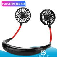 Wholesale fans resale online - 2019 Portable USB Rechargeable Neckband Lazy Neck Hanging Dual Cooling Mini Fan sport degree rotating hanging neck fan
