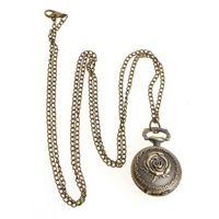 подвесная резная роза оптовых-Quartz Pocket Watch Rose Relief Carved Flower Exquisite Charm Creative Jewelry Pendant Fashion Chain Collar Gifts Women Necklace
