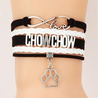 pulseira de couro do cão venda por atacado-CHOW CHOW Pulseiras Dog Paw Couro Wrap Corda Pulseira Bangles Trançado Jóias Presente de Natal