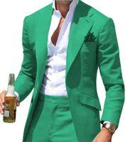 şampanya ince smokin toptan satış-Erkekler Resmi Takım Elbise Slim Fit Rahat Tek Parça Iş Sağdıç Gri Blazer Düğün için Yeşil Yeşil şampanya Yaka Smokin