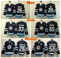 jersey jatos juventude venda por atacado-Homens Mulheres Juventude Winnipeg Jets Jersey Hóquei no Gelo Senhora Crianças Mulher 33 Dustin Byfuglien 26 Blake Wheeler 55 Mark Scheifele 29 Patrik Laine