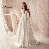 Wholesale feather basque wedding dress resale online - Famous Design Satin Wedding Dress with Pocket V neck Cutout Side Open Back Bridal Dress Pocket vestido longo de festa