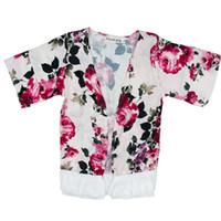bebés del mantón al por mayor-Baby Girl Flower Outwear Baby Infant Girl Designer Clothes Baby Manteau Ropa de diseñador para niños Sección delgada Borla Medio Mantón 43
