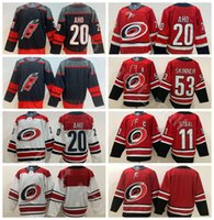 maillots de hockey rouges noirs vierges achat en gros de-2019 Hockey sur Glace 20 Maillots Hurricanes Carolina Sebastian Aho Blanc 11 Staal Respirant Domicile Rouge Extérieur Broderie Et Cousue