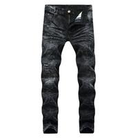 ingrosso pantaloni di stile per gli uomini-Jeans strappati strappati da uomo Fashion Designer Jeans da motociclista da motociclista dritto Pantaloni da denim di Fazione Streetwear Jeans taglia 28-40