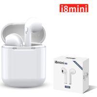 logo de apple oreja al por mayor-I8 mini TWS Bluetooth Auriculares Wireless Headset auriculares con micrófono estéreo V5.0 auriculares para teléfonos celulares con paquete al por menor