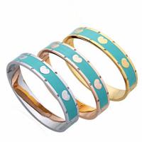 braguettes à gomme achat en gros de-2019 La dernière mode couleur gomme goutte bracelet rose bracelet vert acier inoxydable couple bracelet bijoux cadeau livraison gratuite