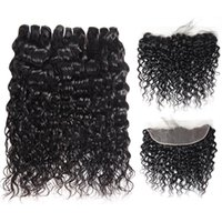 Wholesale burgundy human hair weave lace frontal resale online - 8 inch Brazilian Body Wave Bundles with Lace Frontal Peruvian Deep Wave Kinky Curly Indian Human Hair Bundles with Closure