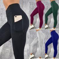 kadın pantolonu toptan satış-Cep Egzersiz Ile kadın Legging Yoga Spor Sıska Tayt Gym Spor Streç Fit Katı Koşu Ince Pantolon Legging LJJA2867