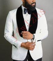 Wholesale white prom dress shawl resale online - Handsome Groomsmen Shawl Lapel Groom Tuxedos Mens Wedding Dress Man Jacket Blazer Prom Dinner Piece Suit Jacket Pants Tie