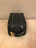 grandes sacos de viagem de couro venda por atacado-O envio gratuito de atacado designer de luxo duplo zíper saco de cosmética feminina grande saco de armazenamento de viagem saco de lavagem de armazenamento de alta qualidade de couro cas