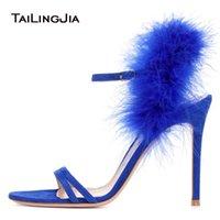 yüksek topuk ayakkabıları siyah yaz toptan satış-Kadınlar Burnu açık Yüksek Topuk Muhteşem Sandal Mavi Kürk Strappy Topuklu Seksi Siyah Akşam Elbise Ayakkabı Bayanlar Yaz Parti Ayakkabı 2018