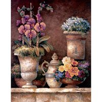 Wholesale canvas art oil painting blossom for sale - Group buy Handmade Landscapes art Victorian Blossoms I Canvas Oil painting for living room decor
