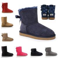 botas de nieve de piel marrón de las señoras al por mayor-Las mejores señoras de la calidad de proa plataforma de otoño invierno botas botas de lujo de la moda las mujeres del diseñador de nieve marrón WGG botas australianas tobillo de la piel del bebé