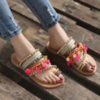 flachen böhmischen stil großhandel-MUQGEW 2019 Frauen Sommer Beleg auf Böhmischen Ethnischen Stil Flache Schuhe Weibliche Sandalen Strass Sandalen Strand Slipper # 0313