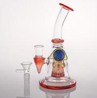 ingrosso tubi di acqua cinese-18cm New Amber Art Work Bong di vetro cinese Tubi d'acqua Spessore di fumare acqua bong di vetro con ciotola per riciclatori olio Rigs