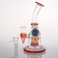 Wholesale chinese water pipes for sale - Group buy 18cm New Amber Art Work Chinese Glass Bongs Water Pipes Thickness smoking water Glass bongs With Bowl Per Recycler Oil Rigs