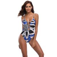 sırtsız monokin yastıkları toptan satış-Yeni Seksi Mavi Baskı Mayo Kadınlar One Piece Suit Derin V Mayo S-XL Kız Hollow Strappy Mayo Backless Yastıklı Monokini