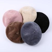 ingrosso berretto berretti-Berretto donna artista berretti stile british Cappellino 2018 Cappello caldo autunno e inverno 5 colori C5633