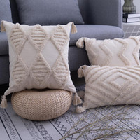 Wholesale zip bedding for sale - Group buy Tassels Cushion Cover x cm x50cm Geometric Beige Pillow Case Handmade Square Home Decoration for Living Room Bed Room Zip Open