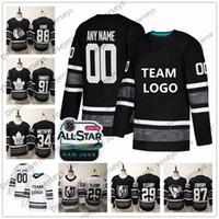 ingrosso nero nhl-Custom 2019 NHL All-Star Game maglie cucite qualsiasi nome numero Crosby Burns Kane Fleury McDavid Uomo Donna Bambino Kid Nero Bianco Hockey su ghiaccio