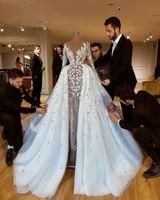 vestidos de noiva de casamento bainha frisada venda por atacado-Brilhantes luxuosos africanas 2020 Vestidos de casamento com saias de renda frisada Bainha nupcial Vestidos mangas compridas See Through vestidos de casamento