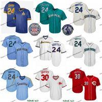 ingrosso pullover bianco blu rosso vuoto-Vintage Mariners Ken Griffey Jr Jr. Jersey Teal Verde 2016 Hall of Fame Reds Seattle 30 Griffey Jr. Cincinnati pullover di baseball