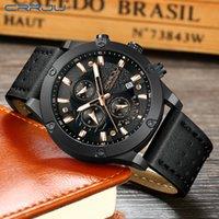 Wholesale outdoor hombre resale online - 2020 reloj hombre CRRJU Fashion Watch Men Six pin Chronograph Leather Waterproof Quartz Wristwatches Men s Outdoor Sports Watches