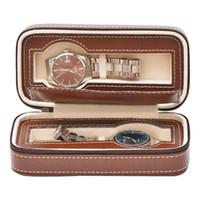 eski saat kılıfları toptan satış-Deri 2 Yuvaları İzle Ekran Kutusu Koleksiyon Fermuar Çanta Saklama Tutucu Fuar Organizasyon Vintage Yüksek Klasik Taşınabilir