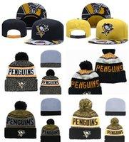 bonnet brodé achat en gros de-Pittsburgh Penguins Hockey sur glace tricot broderie réglable Chapeau Beanies brodé Snapback Casquettes Jaune Noir Chapeaux Stitched Taille Unique
